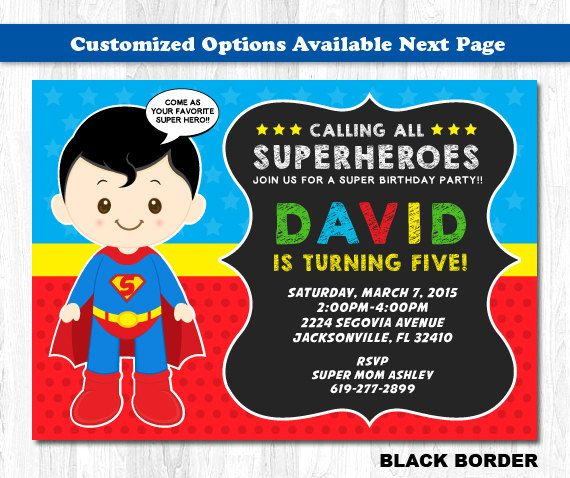 The 25 best Superman invitations ideas – Superman Birthday Party Invitations