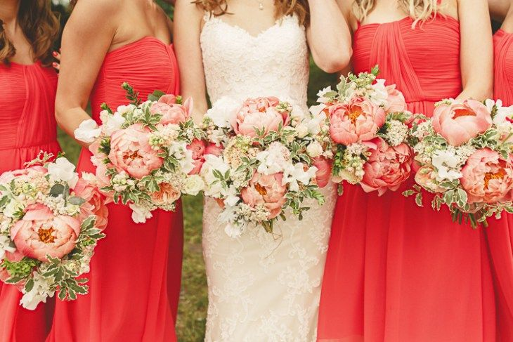 Bouquets Flowers Bride Bridal Bridesmaids Peonies Relaxed Rustic Coral Peony Barn Wedding http://www.benjaminstuart.co.uk/
