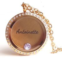 Personalized floating Locket with Birthstone from Charis Jewelry.  Shop Online at www.charisjewelry.co.za