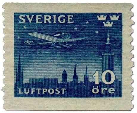 """Sweden 10ö """"Air mail"""" 1930. Sven Ewert sc."""