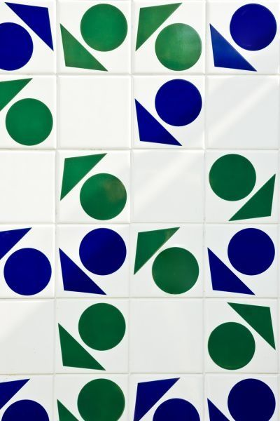Inspired by Oscar Neimeyer - tiles - pattern - geometric - wall - white - green - blue - mural - shapes darkroomlondon.com/