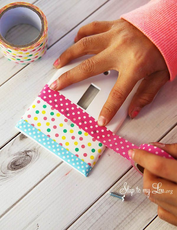 How to make your own decorative light switch cover with washi tape and mod podge #make #decor skiptomylou.org