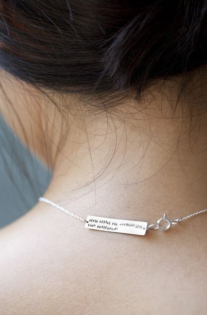 never settle for anything less than butterflies.: Never Settle, Cookies Necklaces, Gifts Ideas, Wedding Day, Sterling Silver, Fashion Accessories, Fortune Cookies, A Tattoo, Favorite Quotes