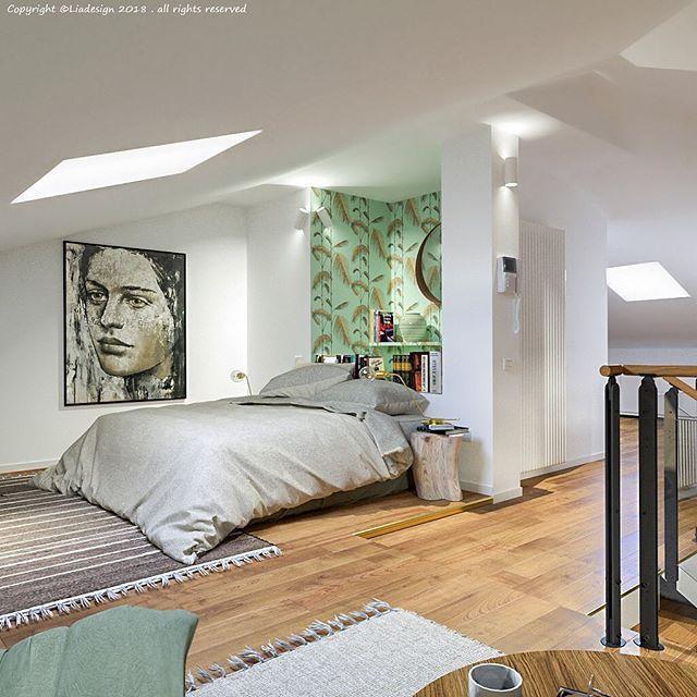 Un sottotetto luminoso è trasformato in suite: da una parte la ...