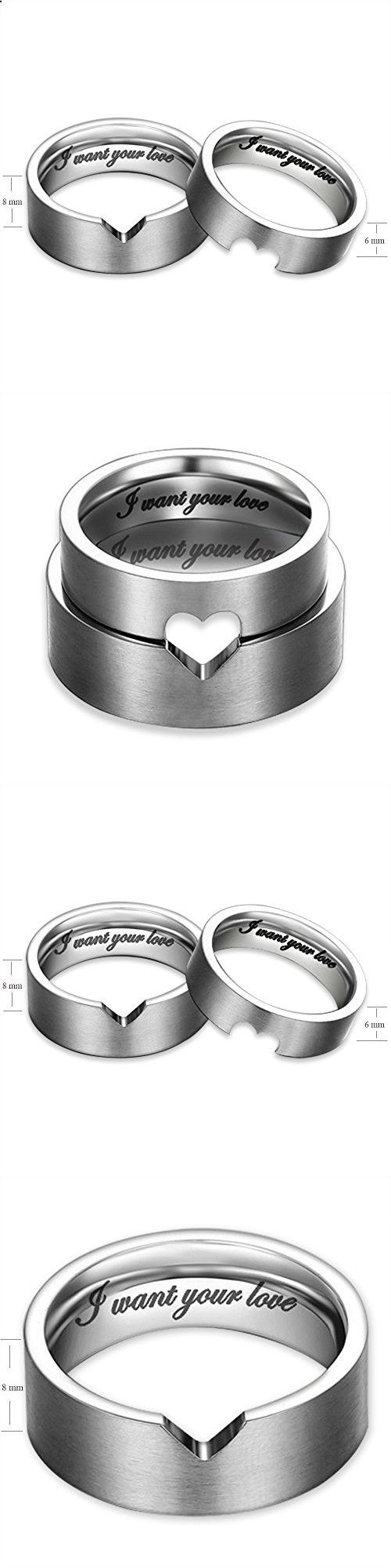I Want Your Love Hollow Matching Heart Flat Couple Rings Mens Womens Stainless Steel White Wedding Bands, Christmas Gift for Boyfriend/girlfriend, Valentine Engagement Promise Matching Wide Rings, Tail Ring Thumb Ring (6mm, 8mm) (Size:10.0 (8mm Width))