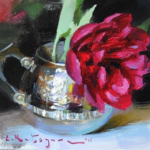 "Daily Paintworks - ""Blooming in Silver"" - Original Fine Art for Sale - © Elena Katsyura"