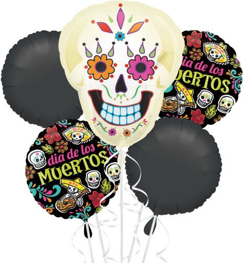 We used the  sugar skull balloon at a rehearsal dinner for a Day of The Dead Halloween Wedding! Balloon Bouquet - Party City