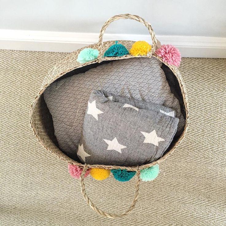 Pom pom proof! So much love for this basket. • • @claude_and_co @olliella #baskets #newbaby #olliella #bellybaskets #decor #nursery