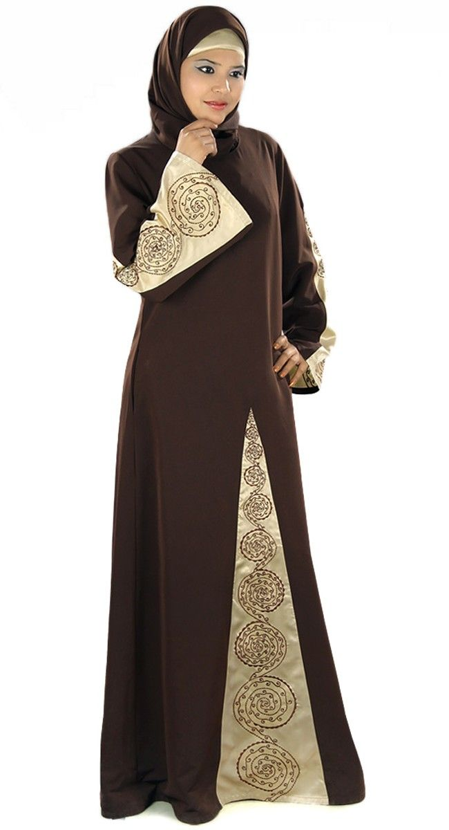 Brown and pale yellow abaya