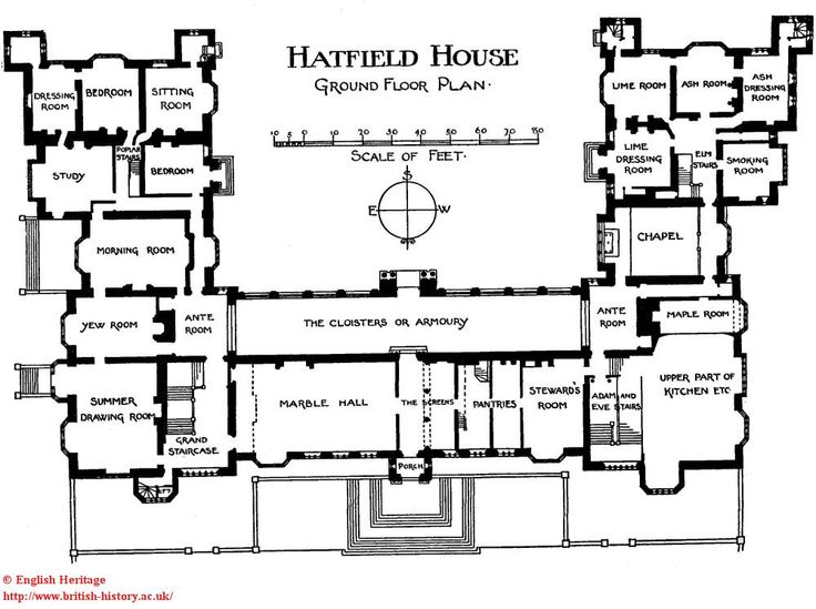 Hatfield house plan of the ground floor floor plan Manor house floor plan