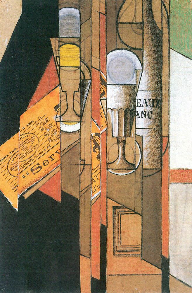 Cubist Modern Art Juan Gris Glasses Newspaper & Wine Bottle Oil Spanish