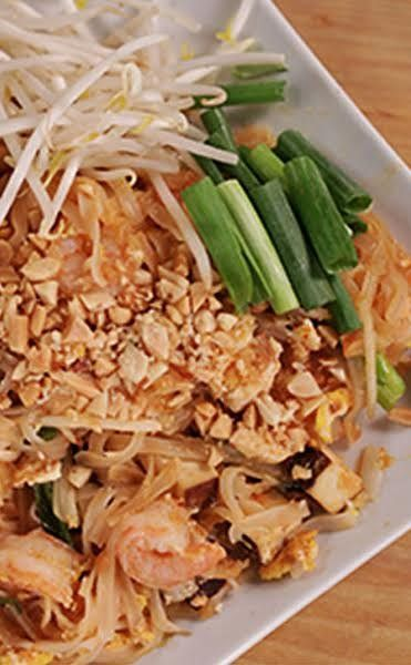 Make pad thai at home with this surprisingly easy recipe. Amount of dried rice sticks is 8 oz for   the full recipe. Half of a pound bag. Double the sauce, add a little more sugar. Add some shredded coleslaw mix for cabbage. Dried shrimp not necessary.