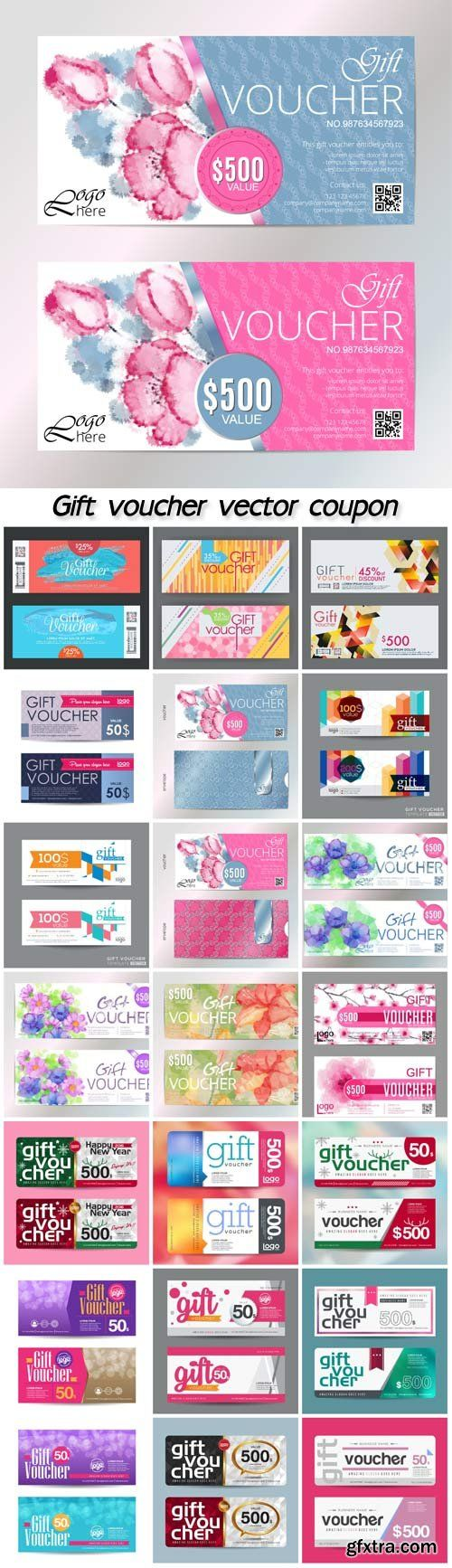 Gift voucher vector coupon