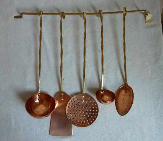 Vintage Copper And Brass Utensils, Copper Spoons, Copper