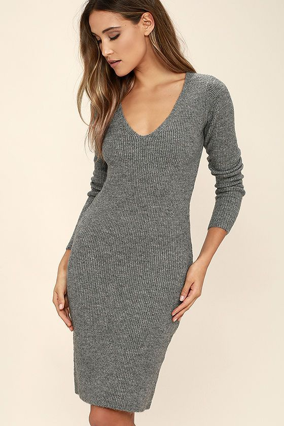 Black Swan Wynona Heather Grey Sweater Dress is your new chilly day crush! A V-neck tops this ribbed knit dress with long, fitted sleeves. A chic midi-length hem keeps things on-trend, while a bodycon fit shows off your figure.