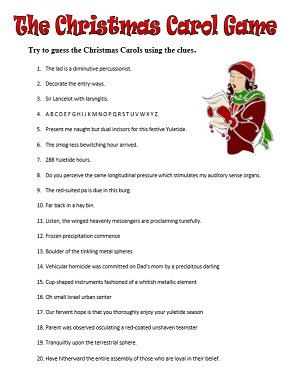 Guess The Christmas Carol Printable Pdf Game By Gartypames