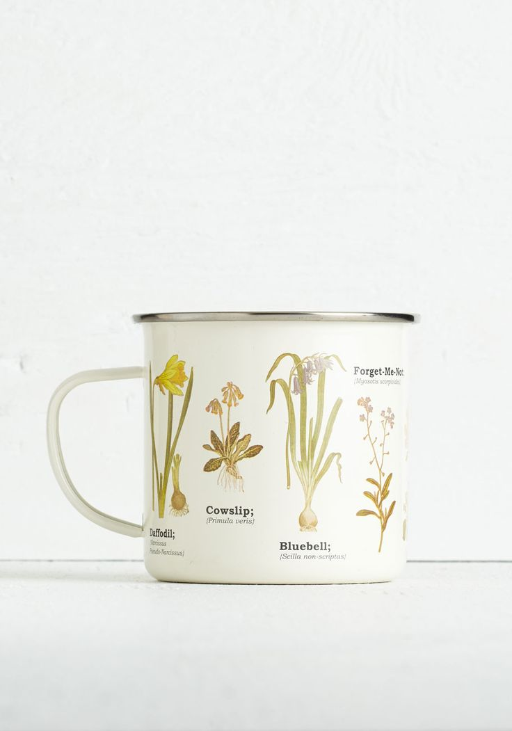 Culinary Genus Mug. Spend your day off exploring your natural baking talent as you savor the scenic details adorning this metal enamel mug! #multi #modcloth