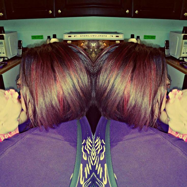 Red violet highlights hair