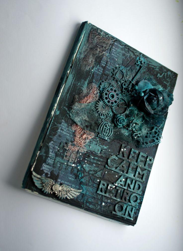 Dark Retro Notebook Cover with DecoArt Media Misters and Mediums #decoartprojects
