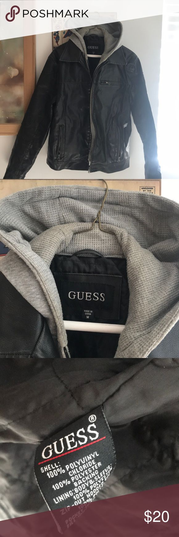 Guess men leather jacket built in hoodie Guess men size m faux leather jacket with detachable hoodie broken zipper Guess Jackets & Coats Bomber & Varsity