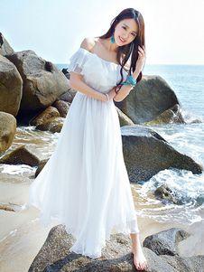 1c5726601a Vestido largo de chifón blanco con escote de hombros caídos Color liso con  volante fruncido sin mangas estilo de playa