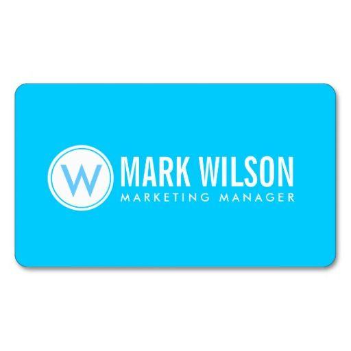Bright Blue Monogram Business Cards