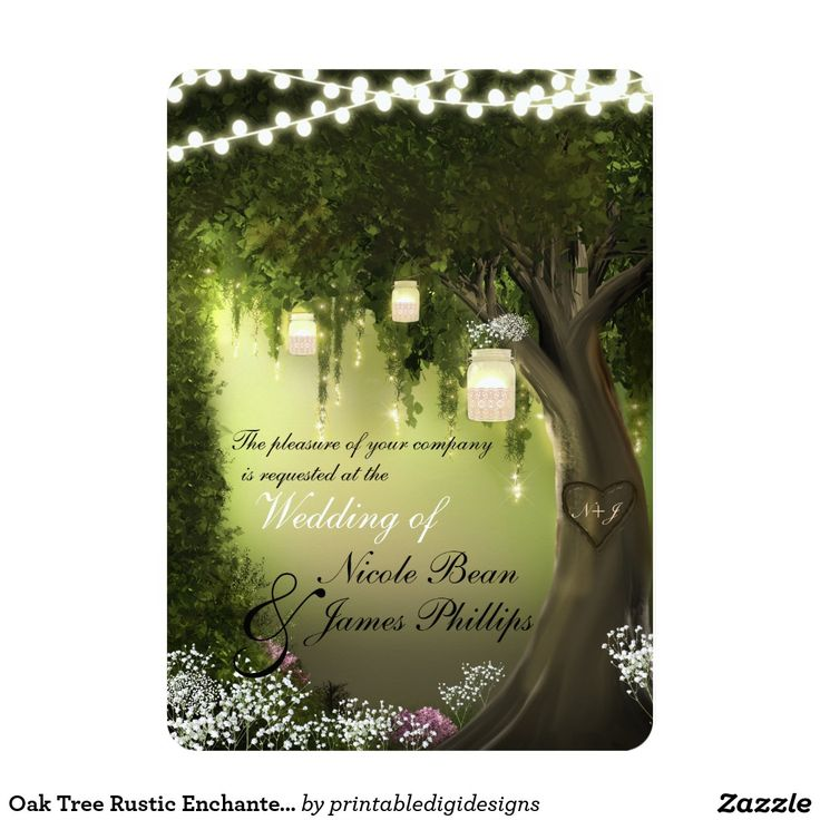 Oak Tree Rustic Enchanted Forest Garden Invitation | Rustic Country Farmhouse Chic Wedding ...
