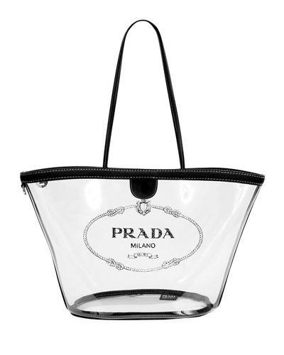 a057edc7f871 PRADA TRANSPARENT PLEXI LOGO TOTE BAG.  prada  bags  shoulder bags  hand  bags  leather  tote