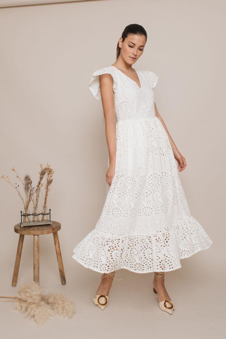 Weißes Sommerkleid aus Baumwollspitze   Baumwollkleider