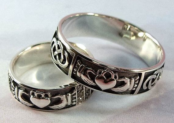 Silver Claddagh rings set/ Handmade Irish by SilverThreeSnails