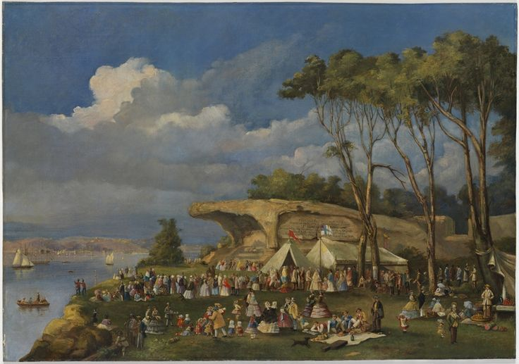Picnic at Mrs Macquaries Chair, Sydney Domain. Oil painting by unknown artist. Believed to have been painted on Anniversary Day, 26 January 1850. From the collections of the State Library of New South Wales: http://www.acmssearch.sl.nsw.gov.au/search/itemDetailPaged.cgi?itemID=457269