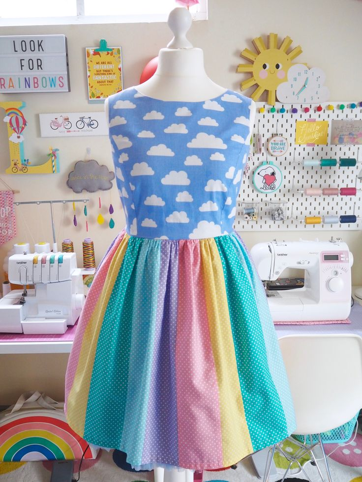 Made to Order Clouds and Rainbow Dress - Handmade Ladies Dress