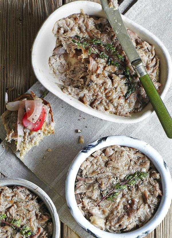 Duck rillettes - our favourite starter: made with duck legs this classic French recipe is like a paté but with shredded duck, packed into a terrine. Serve with a green salad