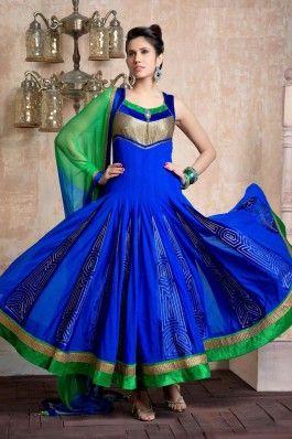 Awsome Blue & Parrot Anarkali