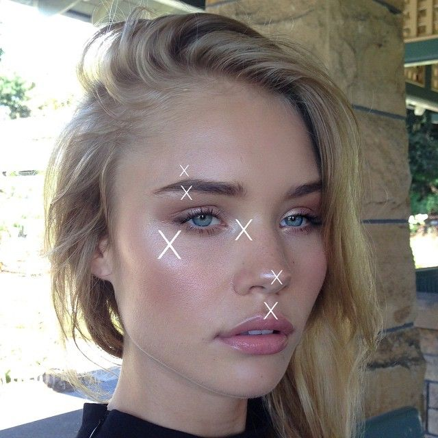 Highlighting your chin, forehead and anywhere near the nose (except for the actual tip of the nose itself) will make you look sweaty and oily. Besides the point of the nose, cupids bow on the lip and the inner corners of the eye I would never highlight down the middle of the face