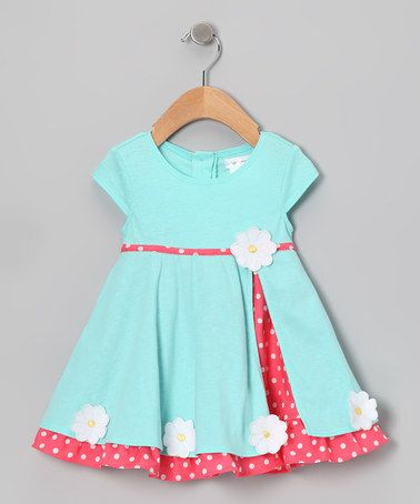 Take a look at this Aqua & Coral Daisy Dress & Bloomers - Infant by Gidget Loves Milo on #zulily today!