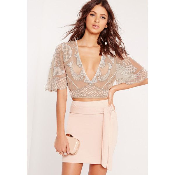 Missguided Plunge Embellished Crop Top ($73) ❤ liked on Polyvore featuring tops, nude, see through tops, mesh top, plunge crop top, sparkly crop top and embellished crop top
