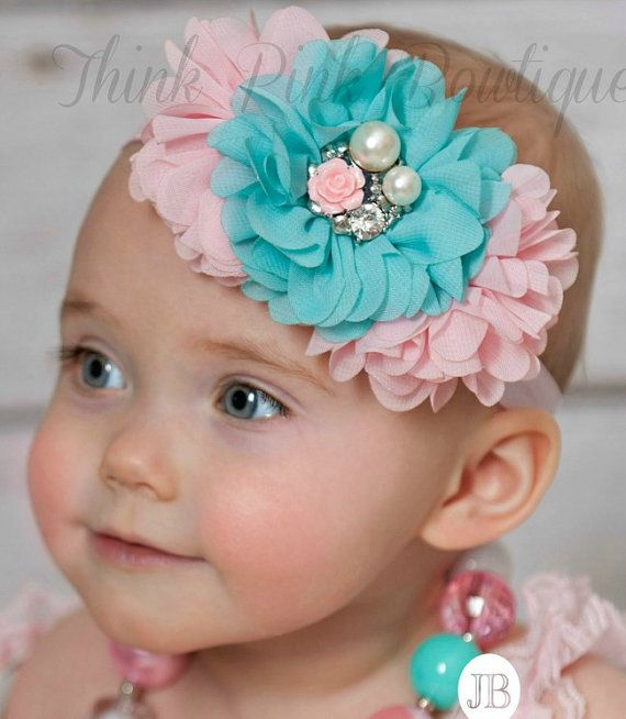 Baby headbands, Baby Headband,Pink and Aqua baby Headband,baby girl headband,Girls Headband,Easter Headband,Girls Headband, Baby Hair Bows.A