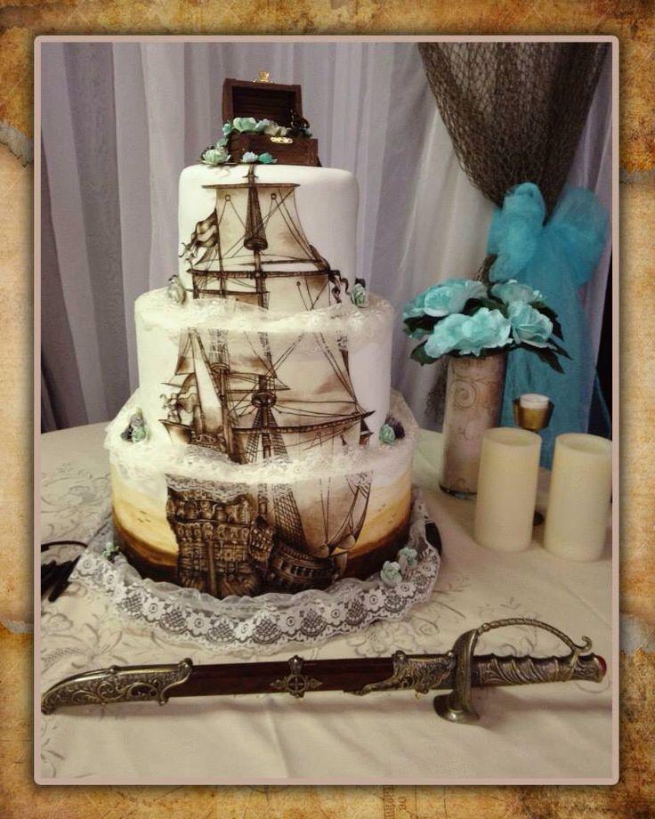 Pirate wedding cake, ship wedding cake