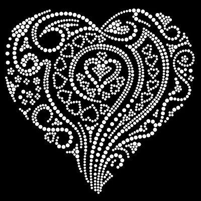 Hot fix diamante tribal love heart transfer hot iron on -ideal Valentine Present