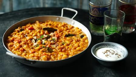 """Slow Cooker Split Pea Dhal recipe: Tasty & filling, dhal makes a[n economic], healthy & satisfying meal from storecupboard ingredients."""