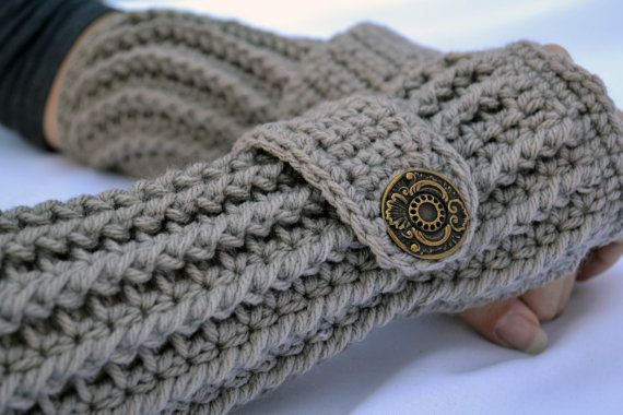 Clay crochet  arm warmers fingerless gloves by ValkinThreads, $20.00