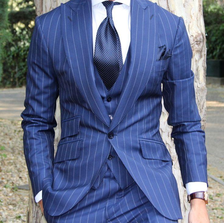 The pinstripe peak Suit by Absolute Bespoke.