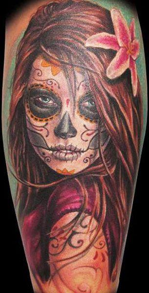 Realism Muerte Tattoo by Randy Engelhard   Tattoo No. 3878