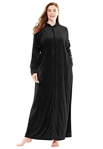 c32ee22ecc Dreams Co Womens Plus Size Velour Hood Robe BlackM   Click on the image for  additional