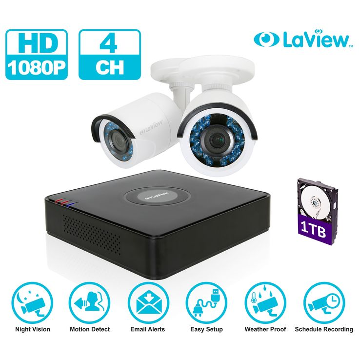 LaView 1080p 4-Channel High Definition DVR Security Surveillance System with 1TB Hard Drive and 2 Full HD 1080p Bullet Cameras