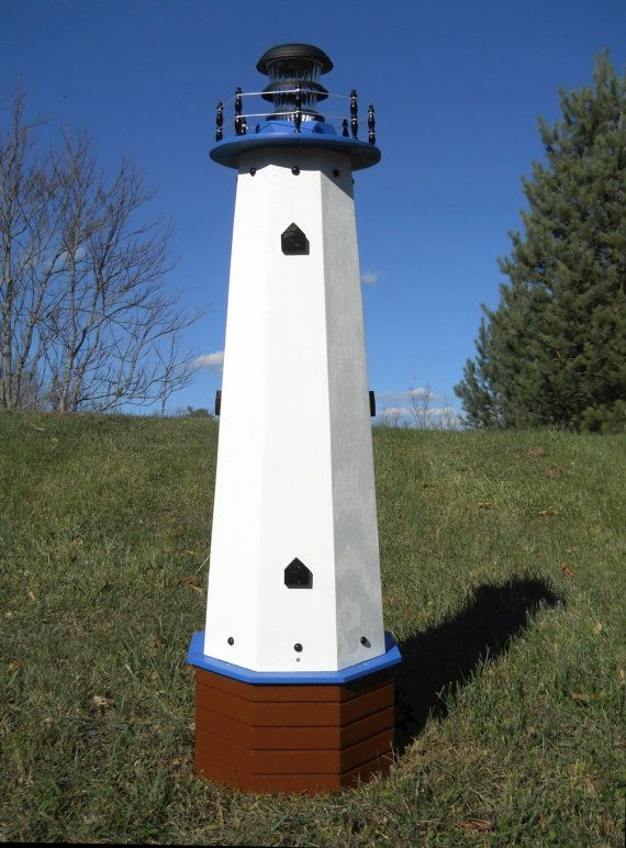 This solar lighthouse is 48 tall. It was designed to be a decorative wooden well pump cover that can conceal a wellhead 9.5 diameter and up to 18 tall. It is painted inside and out with high quality exterior paint for long lasting protection against the weather and rotting. It can also hide other unsightly unmovable objects in your yard as well as simply be a decoration or ornament for your lawn and garden. 1 outdoor solar light and 4 hold down stakes are included. Shipped fully assembled…