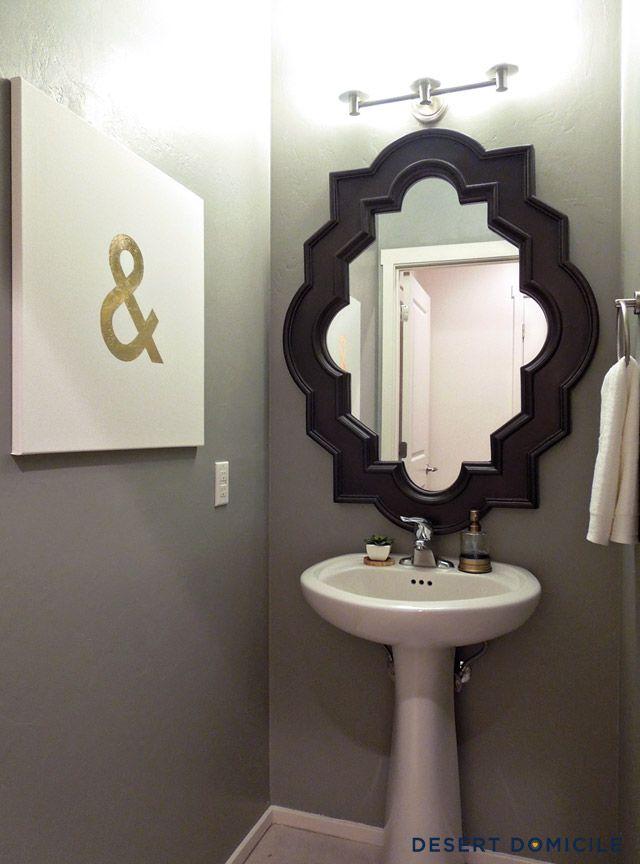 powder room lighting. diy gold leaf ampersand art powder room lighting e