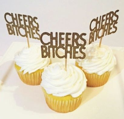 These Cheers Bitches cupcake toppers are exactly what you have been looking for to pimp up the pretty cupcakes you just ordered and bring a touch of wild to your hen party. These fun decorations are perfect for hen parties, girls nights, or any other time you think your cupcake deserves some bling! These gold glitter toppers come in sets of 6 and each topper stands about 2 inches tall.