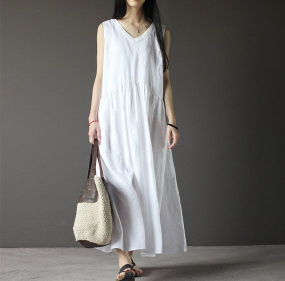 White sleeveless linen dress-V neck linen dress-women sundress-loose dress-maxi dress-plus size dress-holiday dress